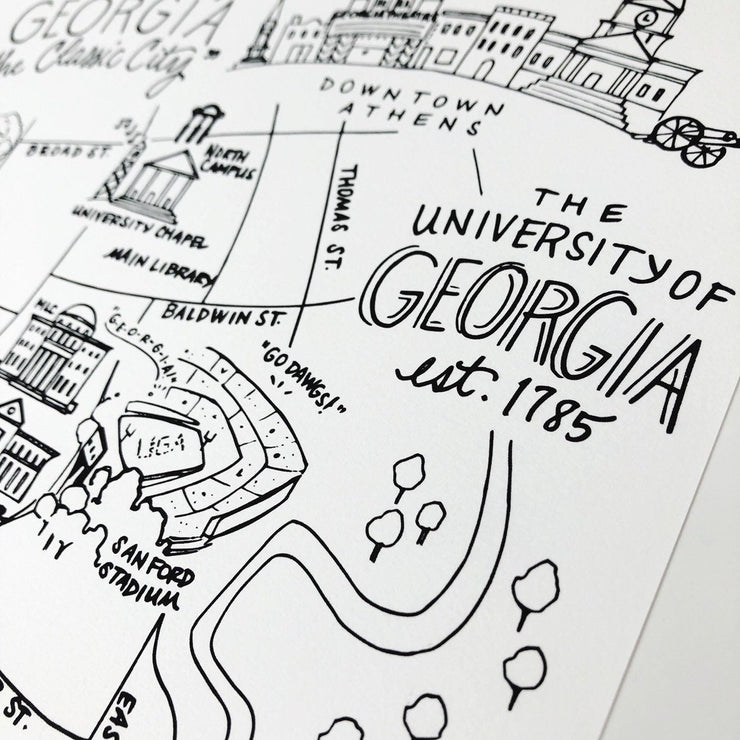 University of Georgia Map Art Print