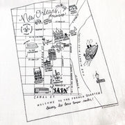 New Orleans, Louisiana Map Flour Sack Towel