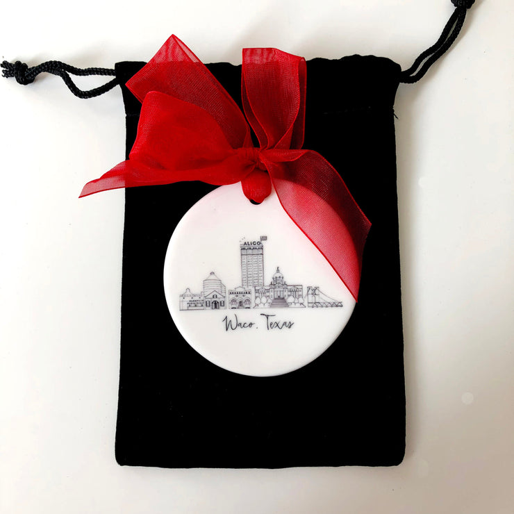 Ceramic Waco, Texas Skyline Ornament