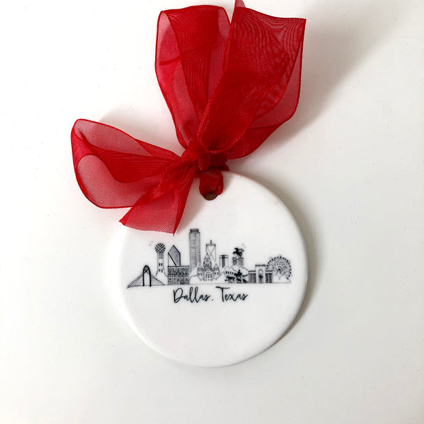 Dallas, Texas Skyline Ceramic Ornament