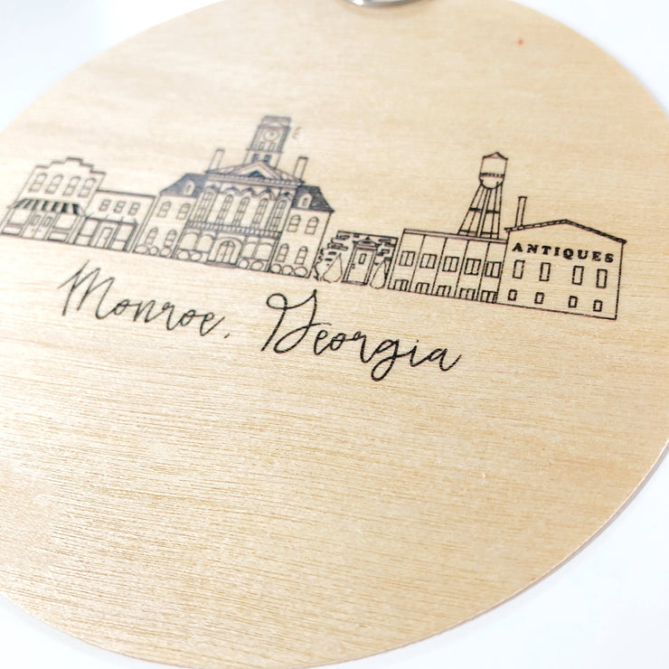 Birch Wood Monroe, Georgia Skyline Ornament