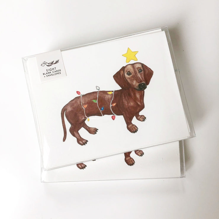 Holiday Daschund Greeting Card or Notecard Set