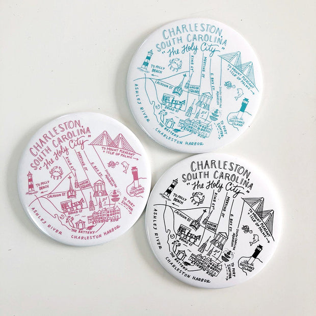 Charleston, South Carolina Map Magnets