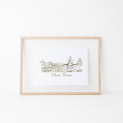 Athens, Georgia Skyline Gold Foil Art Print