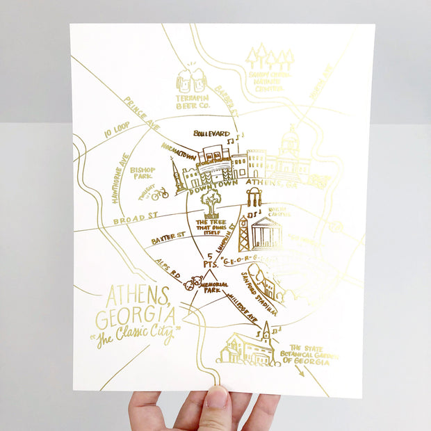 Athens, Georgia Gold Foil Map