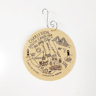 Birch Wood Charleston, South Carolina Map Ornament