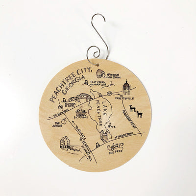 Birch Wood Peachtree City, Georgia Map Ornament