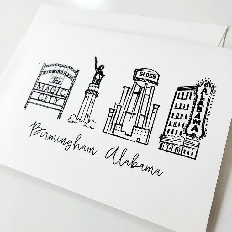 Birmingham, Alabama Skyline Greeting Card or Notecard Set
