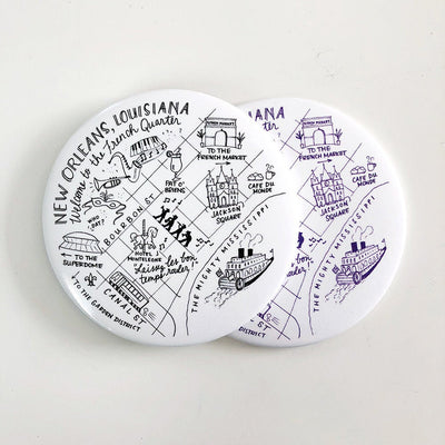 New Orleans, Louisiana Map Magnets
