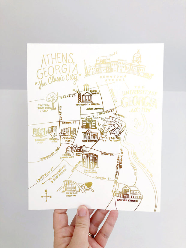 University of Georgia Gold Foil Map