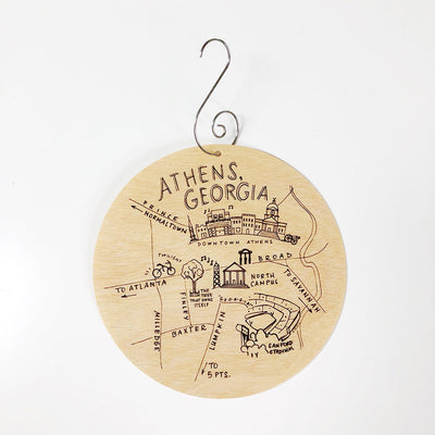 Birch Wood Athens, Georgia Map Ornament