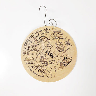 New Orleans, Louisiana Map Birch Wood Ornament