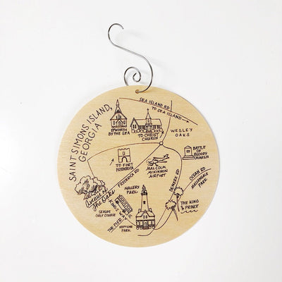 Saint Simons Island, Georgia Map Birch Wood Ornament