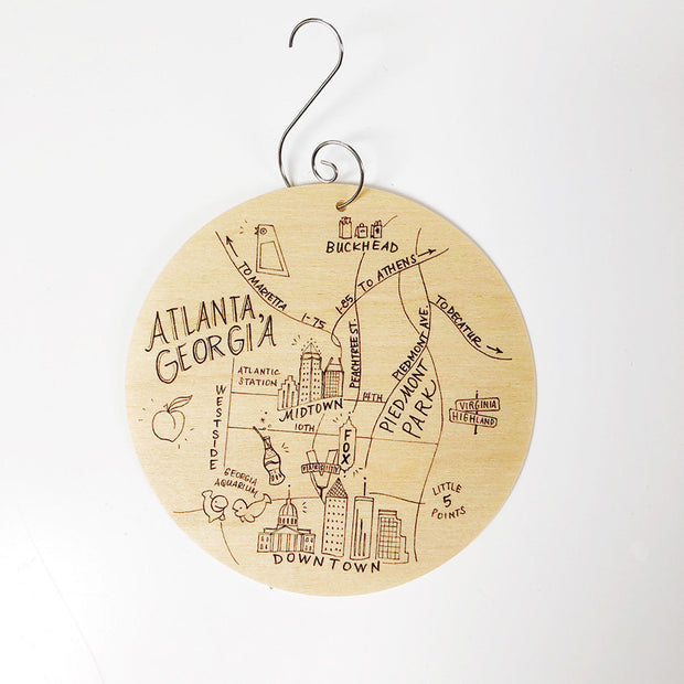 Atlanta, Georgia Map Birch Wood Ornament