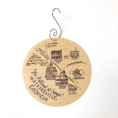 Birch Wood Watkinsville, Georgia Map Ornament