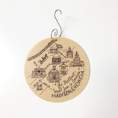 Birch Wood Madison, Georgia Map Ornament