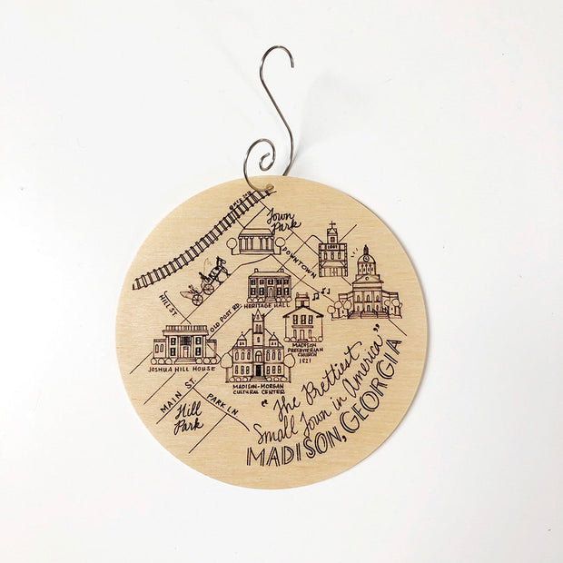 Madison, Georgia Map Birch Wood Ornament