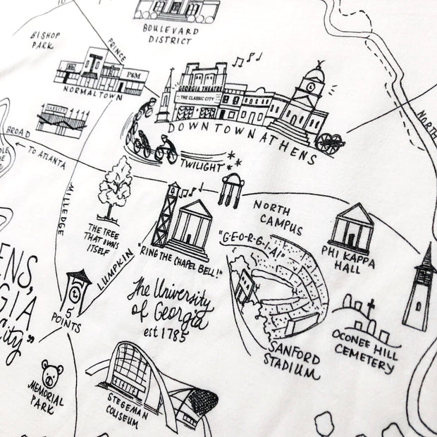 Athens, Georgia Map Large Flour Sack Towel