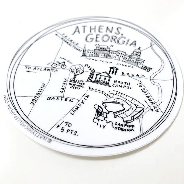 "Athens, Georgia 4"" Vinyl Sticker"