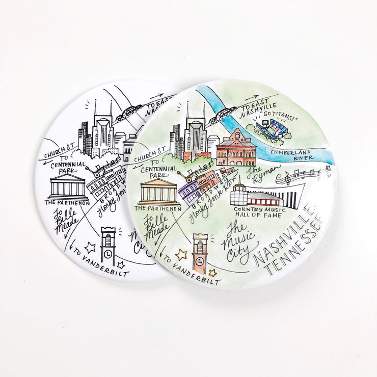 Nashville, Tennessee Watercolor or Pen and Ink Map Magnet