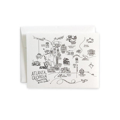 Atlanta, Georgia Horizontal Map Pen and Ink Notecard Set
