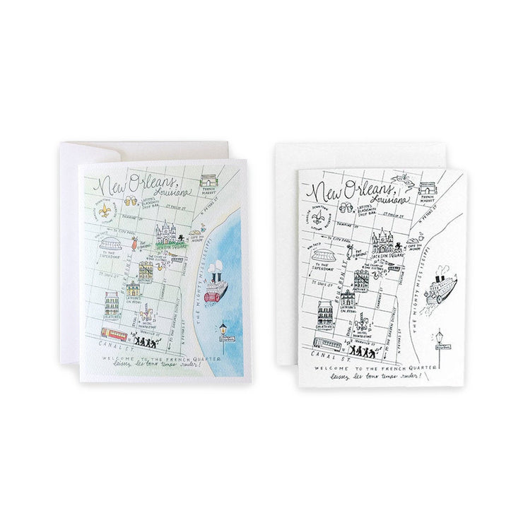 New Orleans Map Greeting Card or Notecard Set