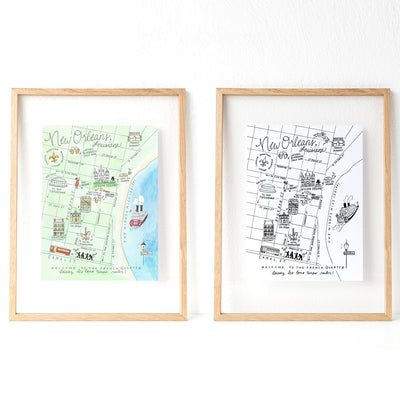 New Orleans, Louisiana Map Art Print