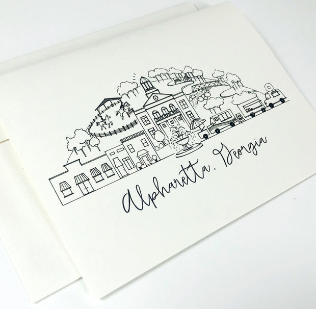 Alpharetta, Georgia Skyline Notecard Set