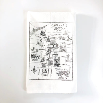 Savannah, Georgia Map Flour Sack Towel