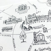 Athens, Georgia Pen and Ink Map