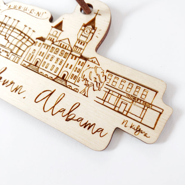 Auburn, Alabama Skyline Wood-cut Ornament