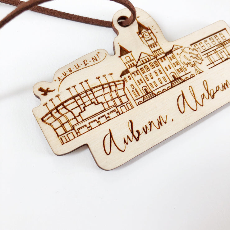 Wood-cut Auburn, Alabama Skyline Ornament