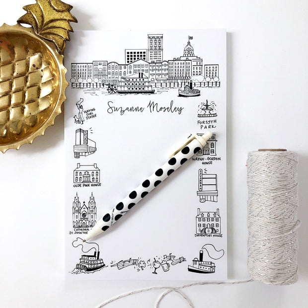 Savannah, Georgia Landmarks Personalized Notepad