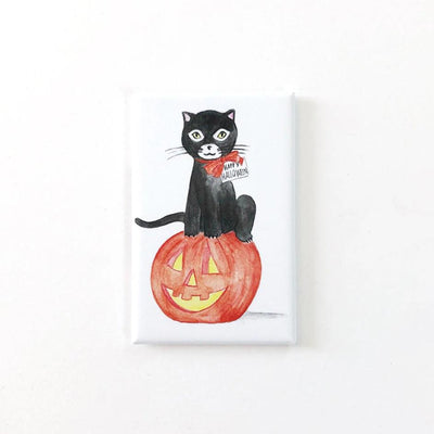 Black Halloween Cat Magnet
