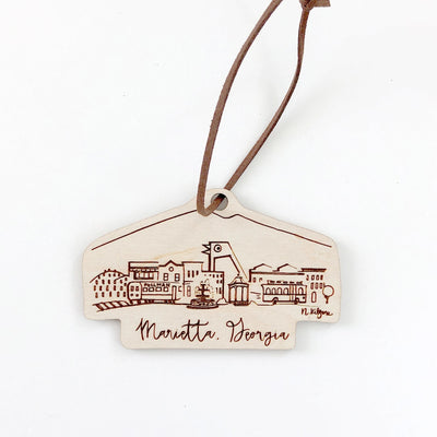 Wood-cut Marietta, Georgia Skyline Ornament