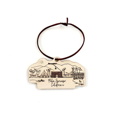 Wood-cut Palm Springs, California Skyline Ornament