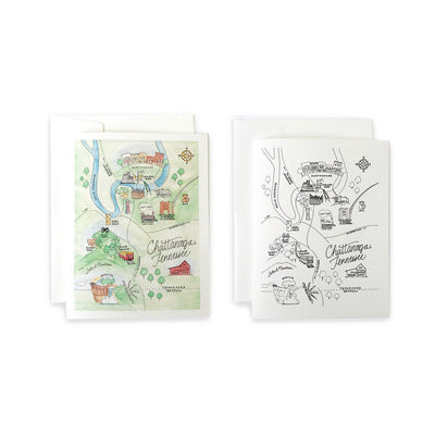 Chattanooga, Tennessee Map Greeting Card or Notecard Set