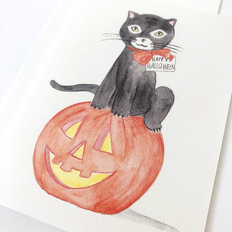 Black Cat Jack O Lantern Halloween Card or Notecard Set