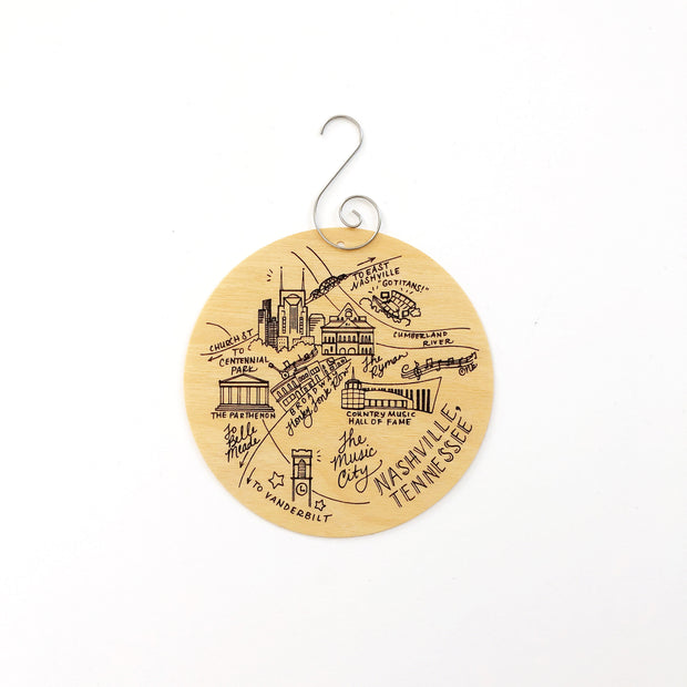 Nashville, Tennessee Map Birch Wood Ornament
