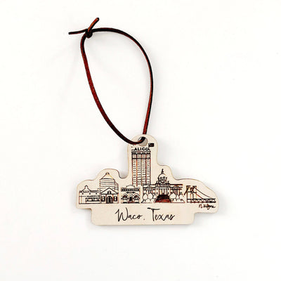 Waco, Texas Skyline Wood-cut Ornament