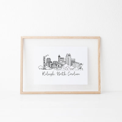 Raleigh, North Carolina Skyline Art Print