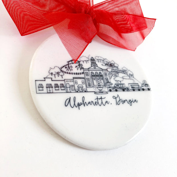 Alpharetta, Georgia Skyline Ceramic Ornament