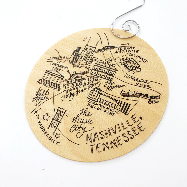 Birch Wood Nashville, Tennessee Map Ornament