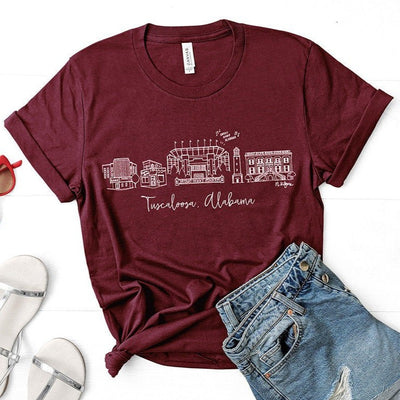 Tuscaloosa, Alabama Skyline T-Shirt