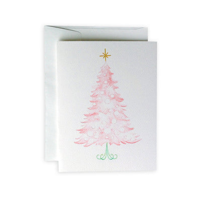 Pink Christmas Tree Greeting Card or Notecard Set