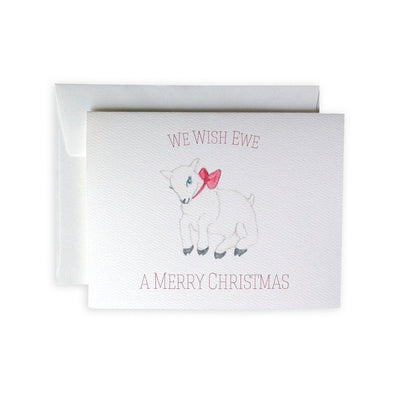 We Wish Ewe A Merry Christmas Greeting Card or Notecard Set