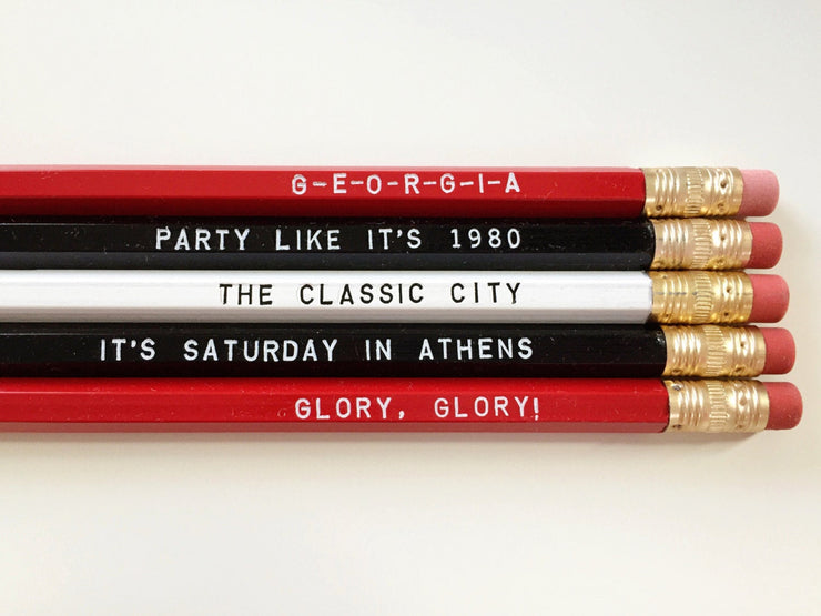 Red and Black Athens Hometown Pencil Set