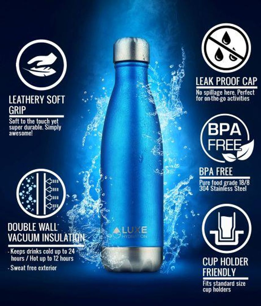 17oz Eco-Insulated Stainless Steel Water Bottle - Caviar