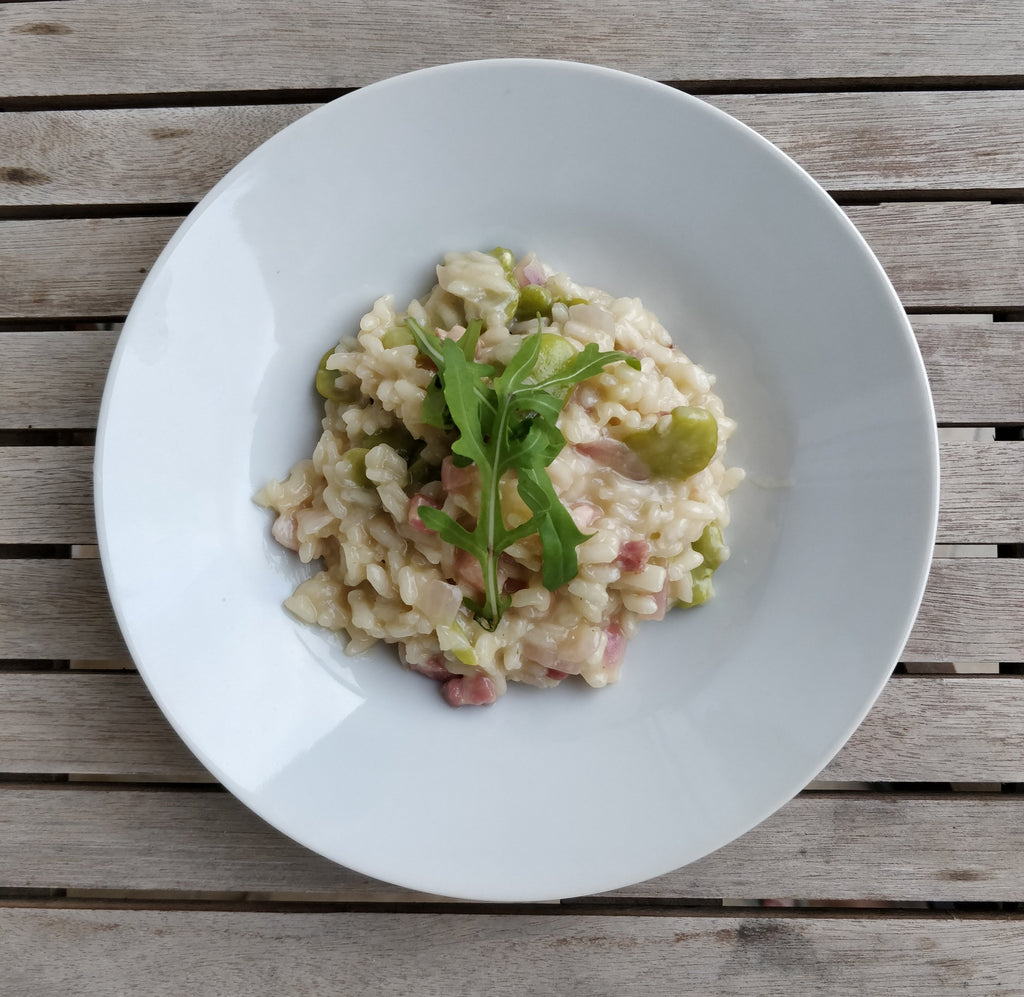 Broad bean and pancetta risotto