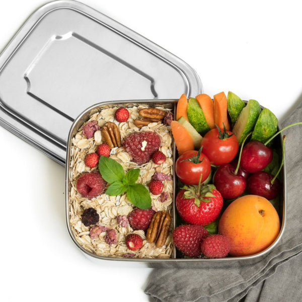 LEKKABOX 2 Compartments, 800ml, Stainless Steel Lunchbox.